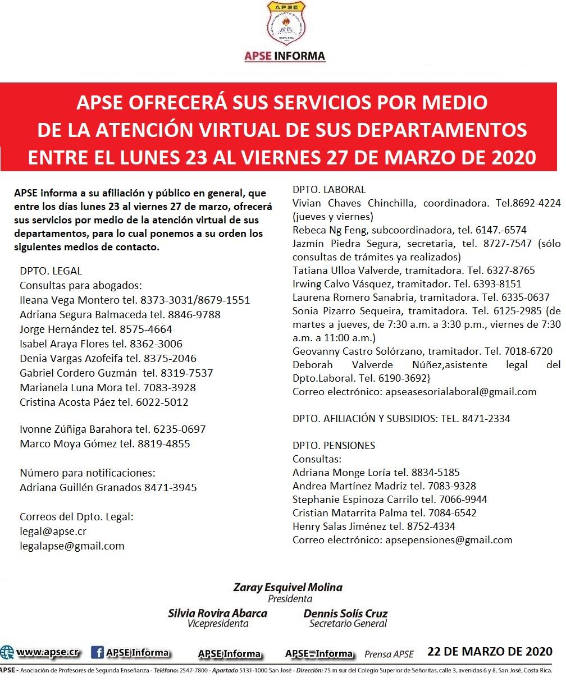 APSE OFRECERÁ SUS SERVICIOS POR MEDIO DE LA ATENCIÓN VIRTUAL DE SUS DEPARTAMENTOS ENTRE EL LUNES 23 AL VIERNES 27 DE MARZO DE 2020