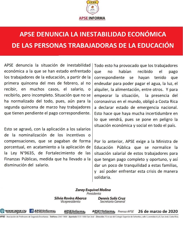APSE DENUNCIA LA INESTABILIDAD ECONÓMICA DE LAS PERSONAS TRABAJADORAS DE LA EDUCACIÓN