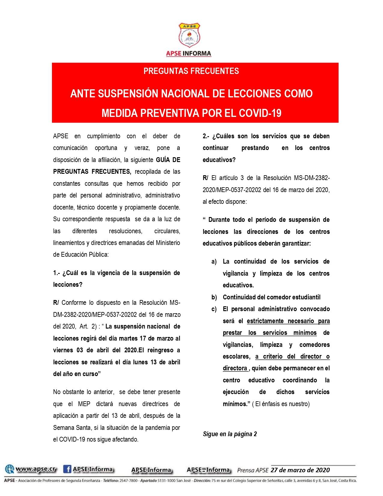Preguntas frecuentes: ANTE SUSPENSIÓN NACIONAL DE LECCIONES COMO MEDIDA PREVENTIVA POR EL COVID-19