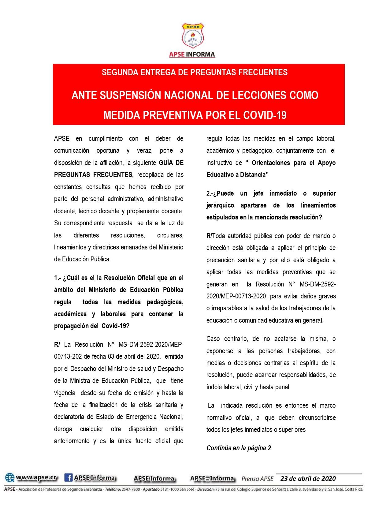 SEGUNDA ENTREGA DE PREGUNTAS FRECUENTES – ANTE SUSPENSIÓN NACIONAL DE LECCIONES COMO MEDIDA PREVENTIVA POR EL COVID-19