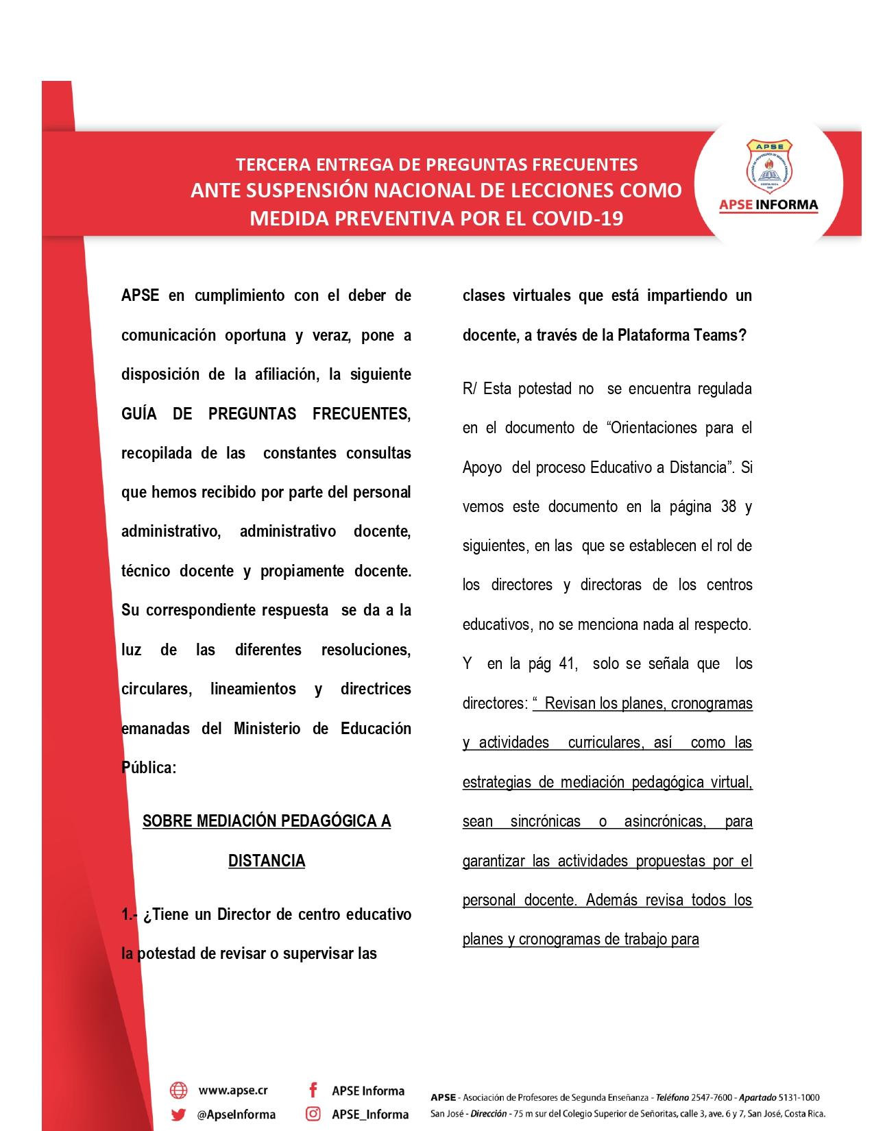 TERCERA ENTREGA DE PREGUNTAS FRECUENTES ANTE SUSPENSIÓN NACIONAL DE LECCIONES COMO MEDIDA PREVENTIVA POR EL COVID-19