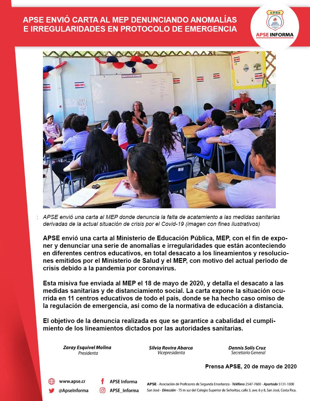 APSE ENVIÓ CARTA AL MEP DENUNCIANDO ANOMALÍAS E IRREGULARIDADES EN PROTOCOLO DE EMERGENCIA