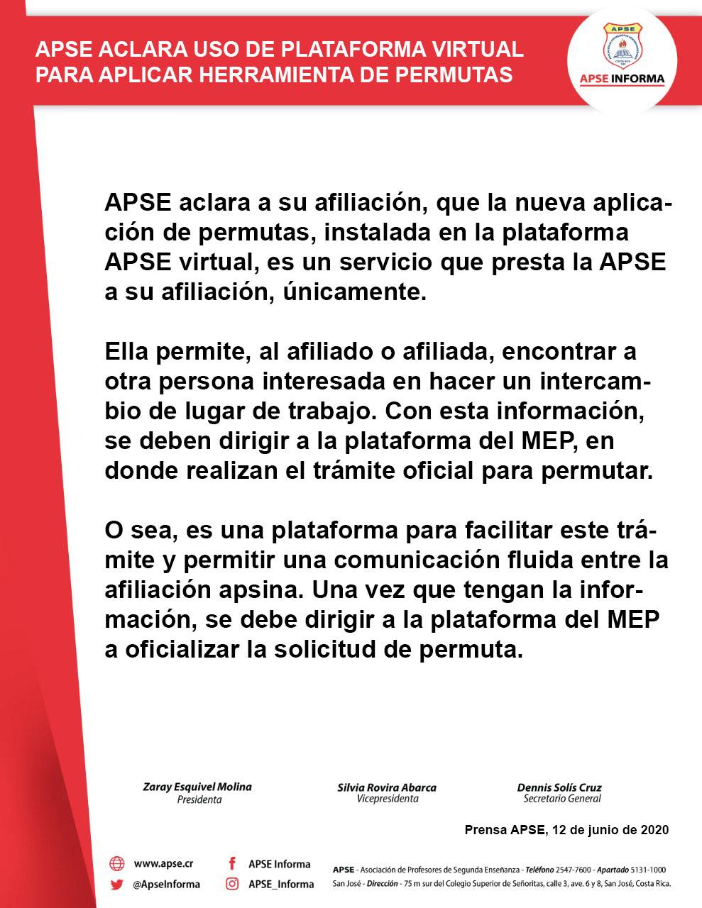 APSE ACLARA USO DE PLATAFORMA VIRTUAL PARA APLICAR HERRAMIENTA DE PERMUTAS