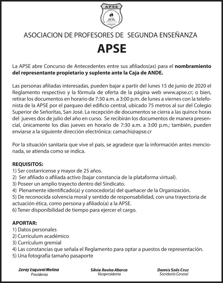 CONCURSO DE ANTECEDENTES: REPRESENTANTE PROPIETARIO Y SUPLENTE ANTE CAJA DE ANDE