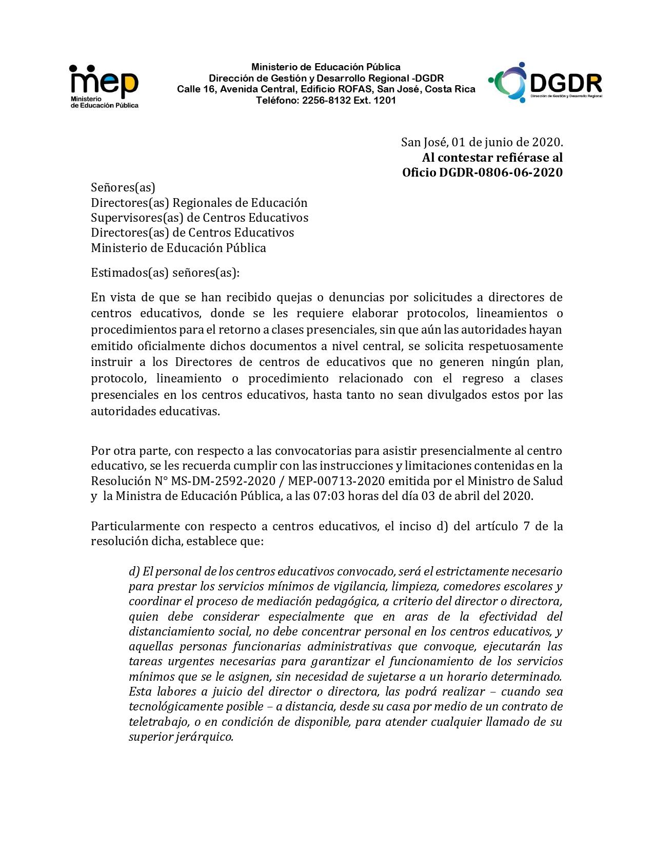 MEP EMITE CIRCULAR GIRANDO INSTRUCCIÓN A DIRECTORES RESPECTO A CONVOCATORIAS PRESENCIALES A CENTROS EDUCATIVOS