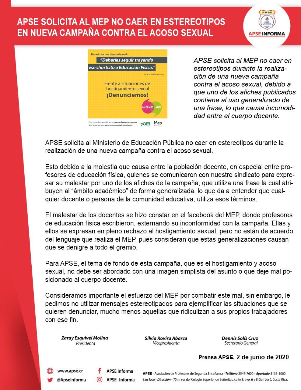 APSE SOLICITA AL MEP NO CAER EN ESTEREOTIPOS EN NUEVA CAMPAÑA CONTRA EL ACOSO SEXUAL