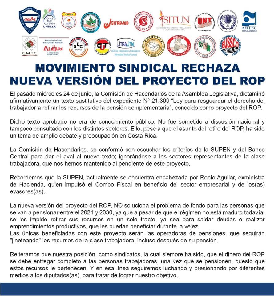 MOVIMIENTO SINDICAL RECHAZA NUEVA VERSIÓN DEL PROYECTO DEL ROP