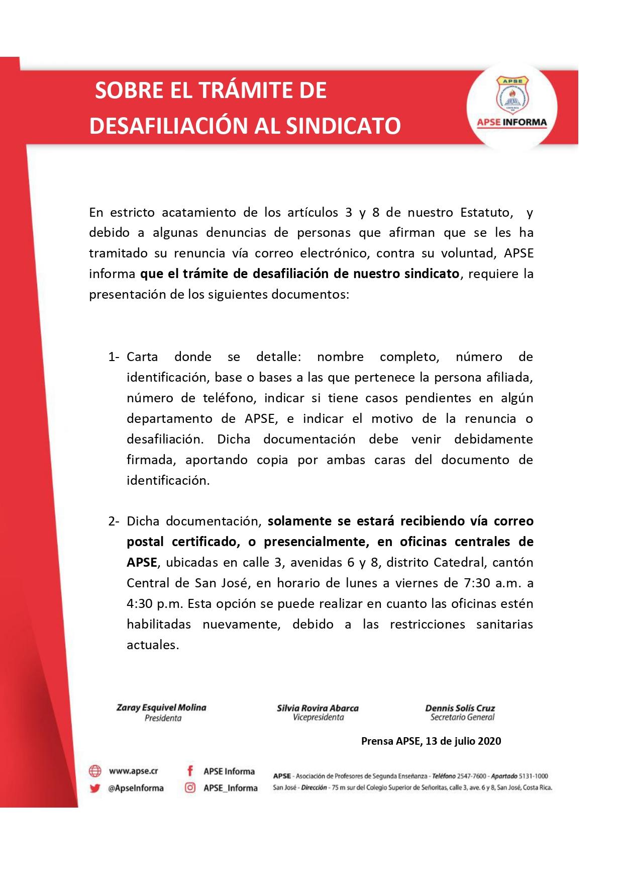 SOBRE EL TRÁMITE DE DESAFILIACIÓN AL SINDICATO