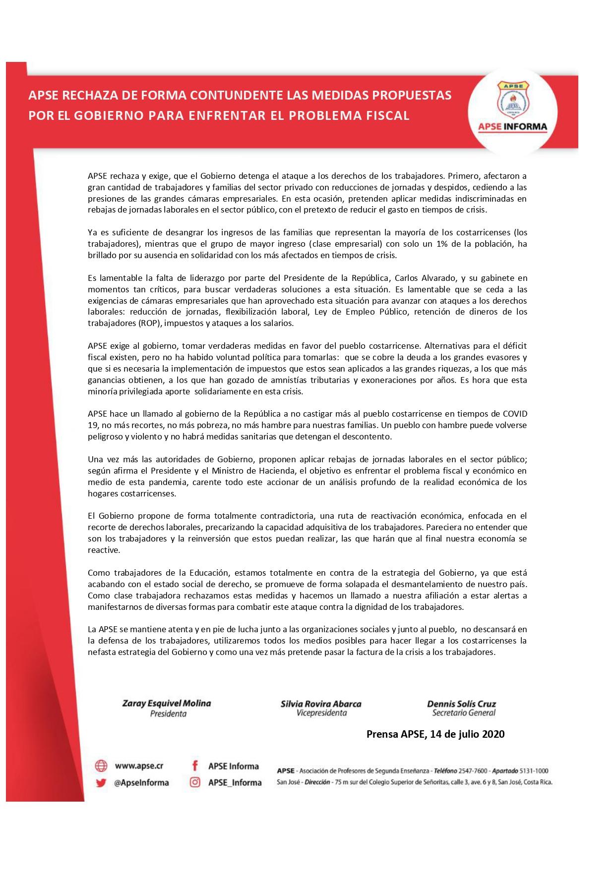 APSE RECHAZA DE FORMA CONTUNDENTE LAS MEDIDAS PROPUESTAS POR EL GOBIERNO PARA ENFRENTAR EL PROBLEMA FISCAL