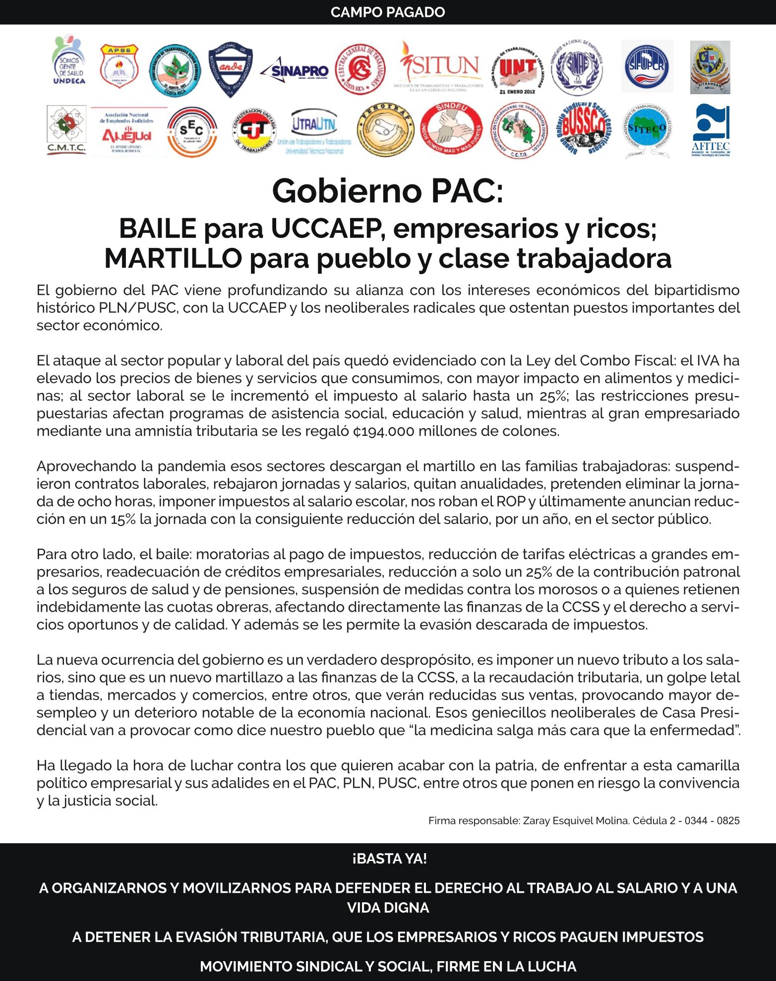 Gobierno PAC: BAILE para UCCAEP, empresarios y ricos, MARTILLO para pueblo y clase trabajadora