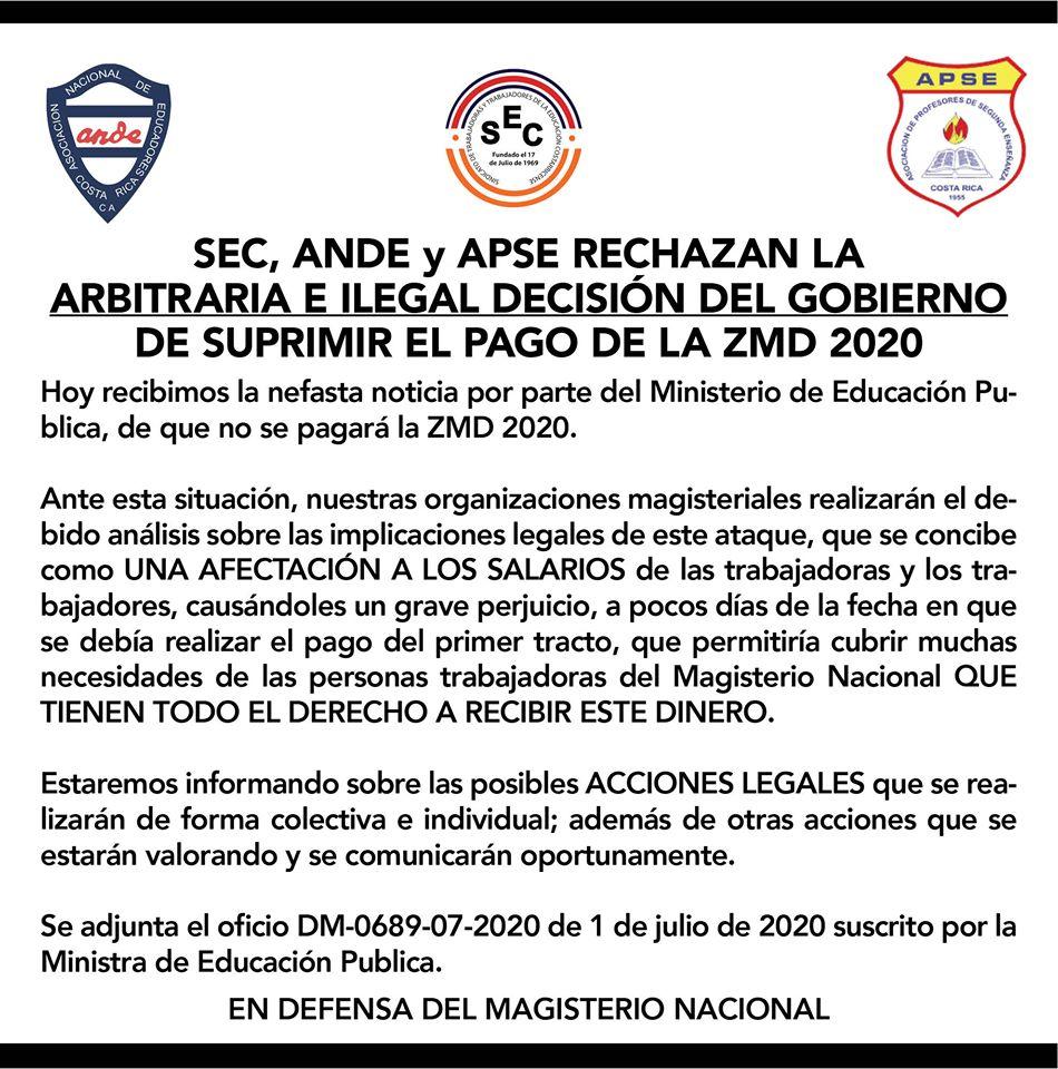SEC, ANDE Y APSE RECHAZAN LA ARBITRARIA E ILEGAL DECISIÓN DEL GOBIERNO DE SUPRIMIR EL PAGO DE LA ZMD 2020