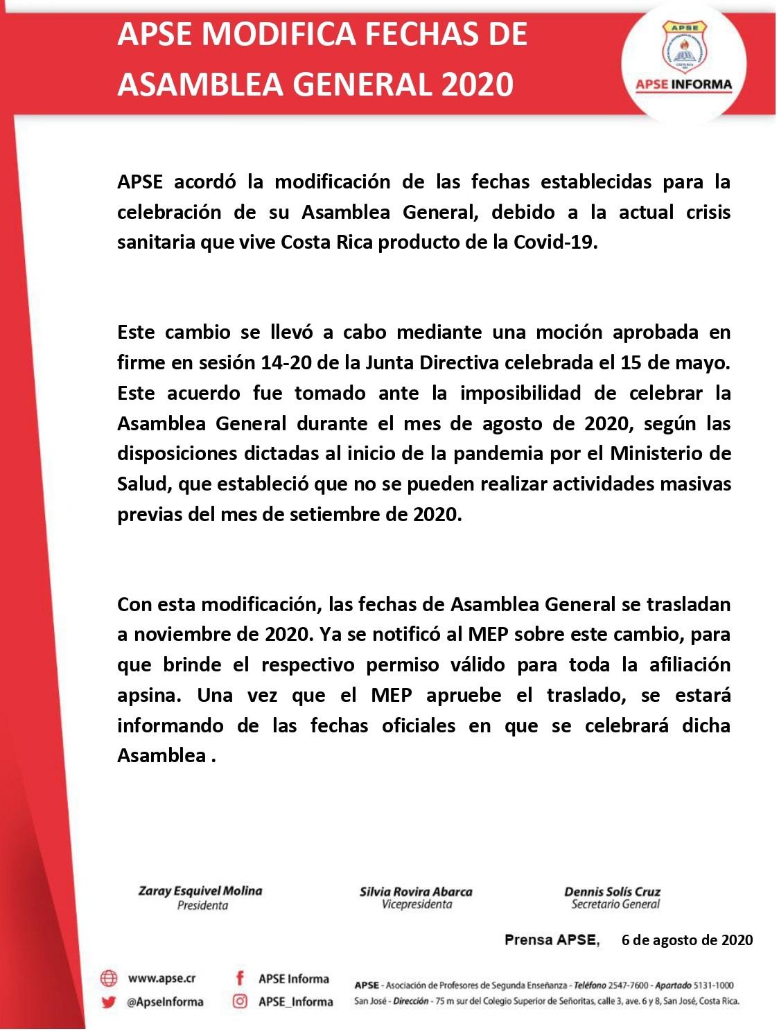 APSE MODIFICA FECHAS DE ASAMBLEA GENERAL 2020