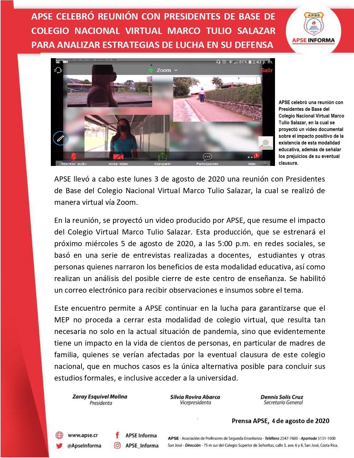 APSE CELEBRÓ REUNIÓN CON PRESIDENTES DE BASE DE COLEGIO NACIONAL VIRTUAL MARCO TULIO SALAZAR PARA ANALIZAR ESTRATEGIAS DE LUCHA EN SU DEFENSA
