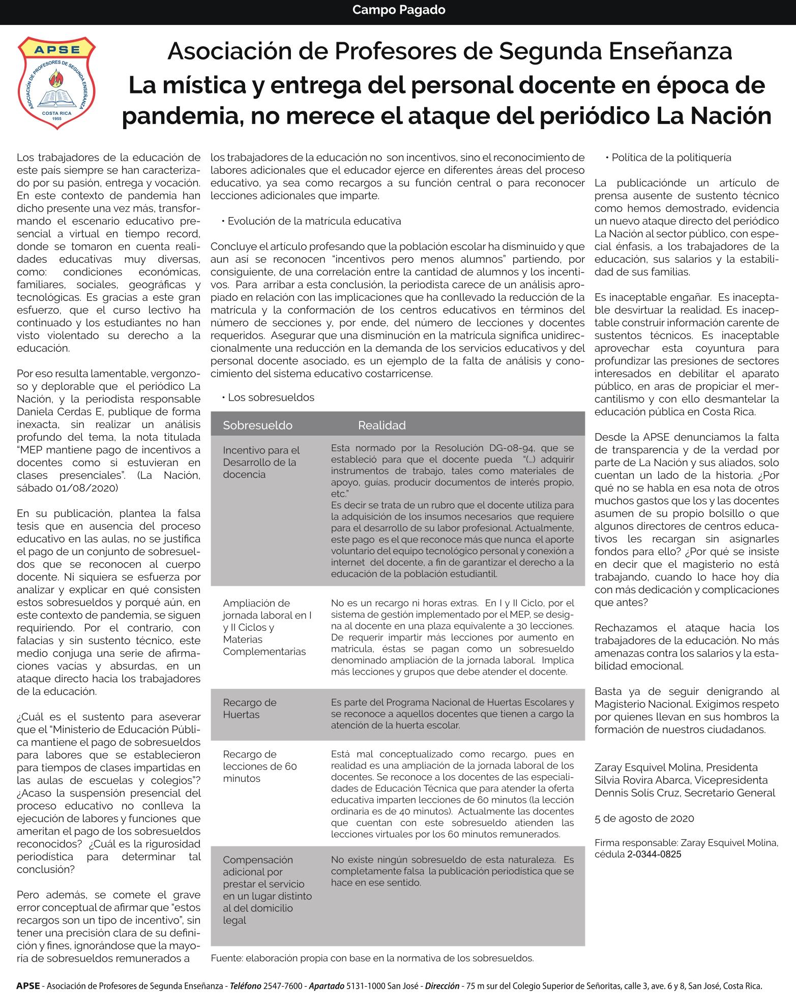 LA MÍSTICA Y ENTREGA DEL PERSONAL DOCENTE EN ÉPOCA DE PANDEMIA, NO MERECE EL ATAQUE DEL PERIÓDICO LA NACIÓN