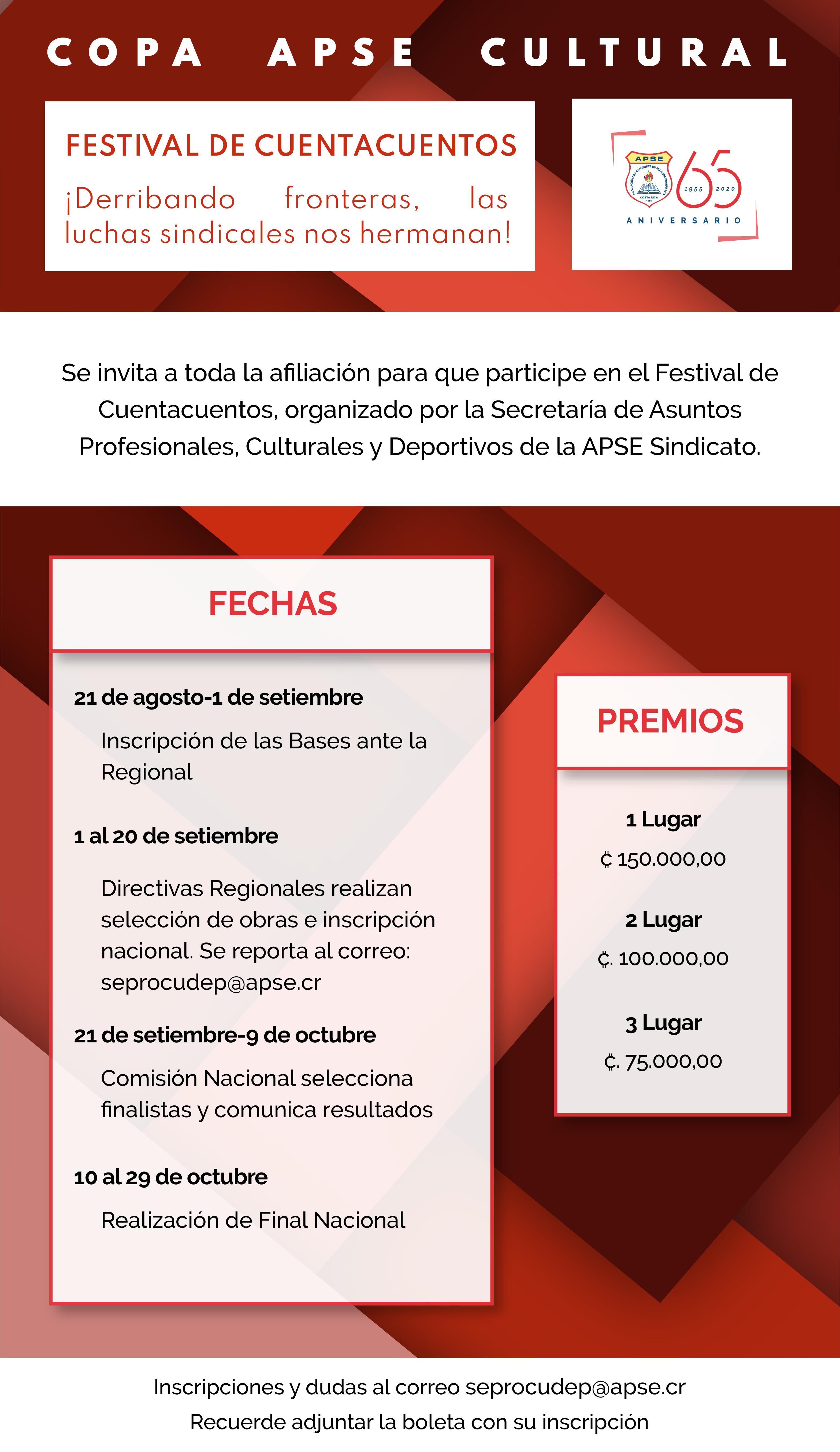 APSE invita a los concursos de Cuentacuentos, Expresión Plástica y Solista Vocal