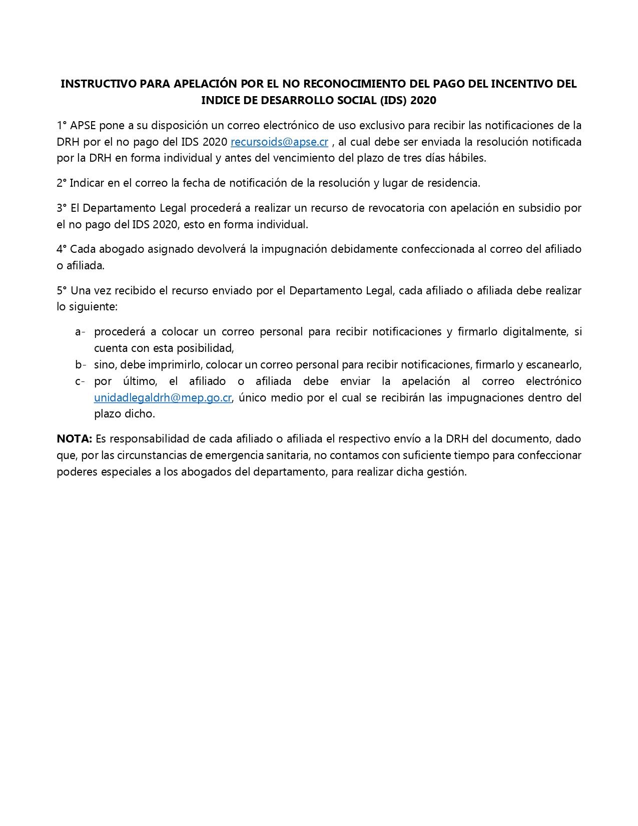 INSTRUCTIVO PARA APELACIÓN POR EL NO RECONOCIMIENTO DEL PAGO DEL INCENTIVO DEL INDICE DE DESARROLLO SOCIAL (IDS) 2020