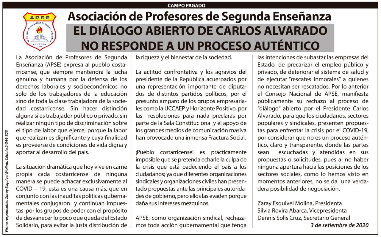 EL DIÁLOGO ABIERTO DE CARLOS ALVARADO NO RESPONDE A UN PROCESO AUTÉNTICO