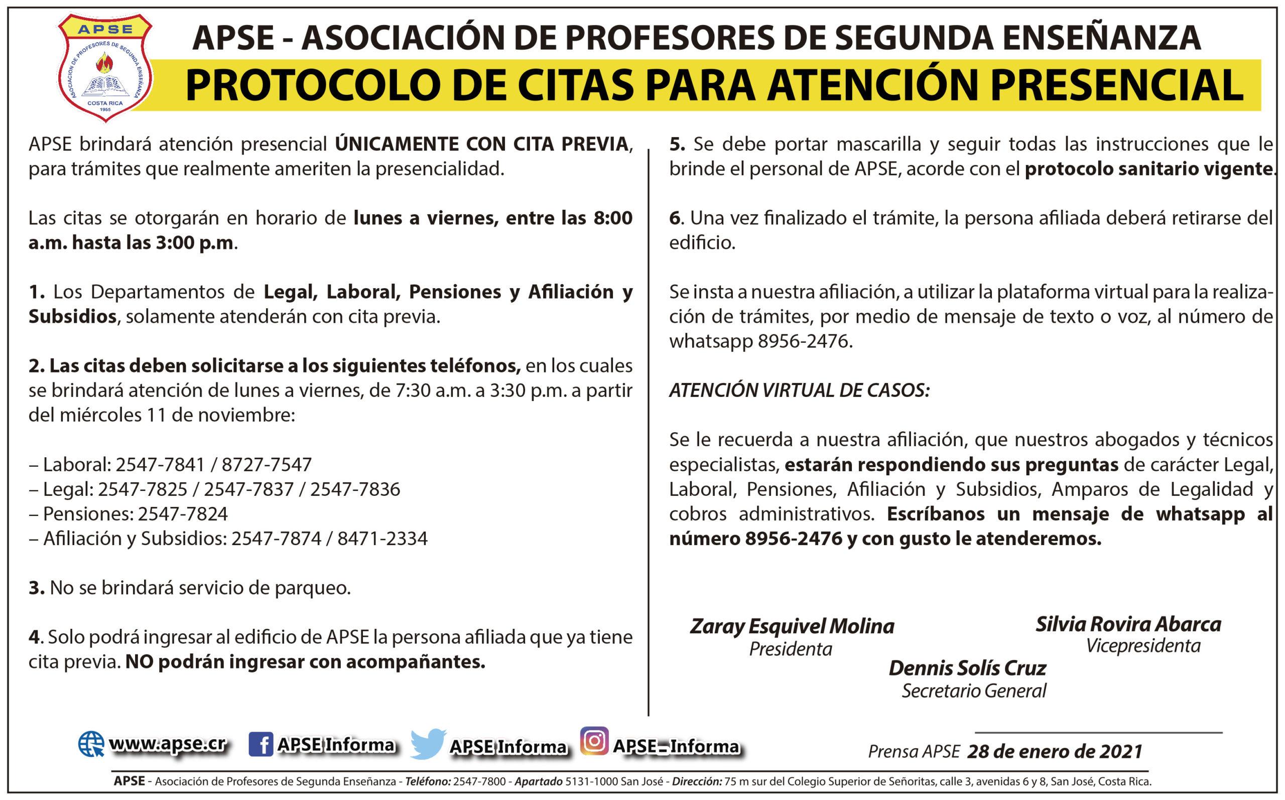 PROTOCOLO DE CITAS PARA ATENCIÓN PRESENCIAL