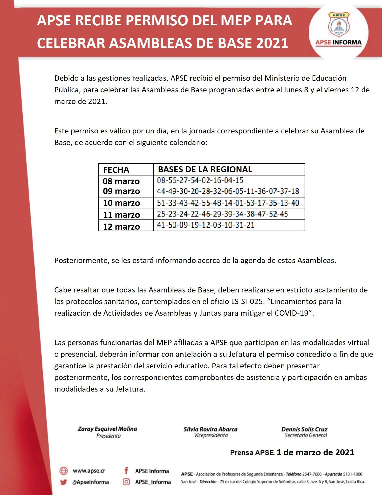 APSE RECIBE PERMISO DEL MEP PARA CELEBRAR ASAMBLEAS DE BASE 2021