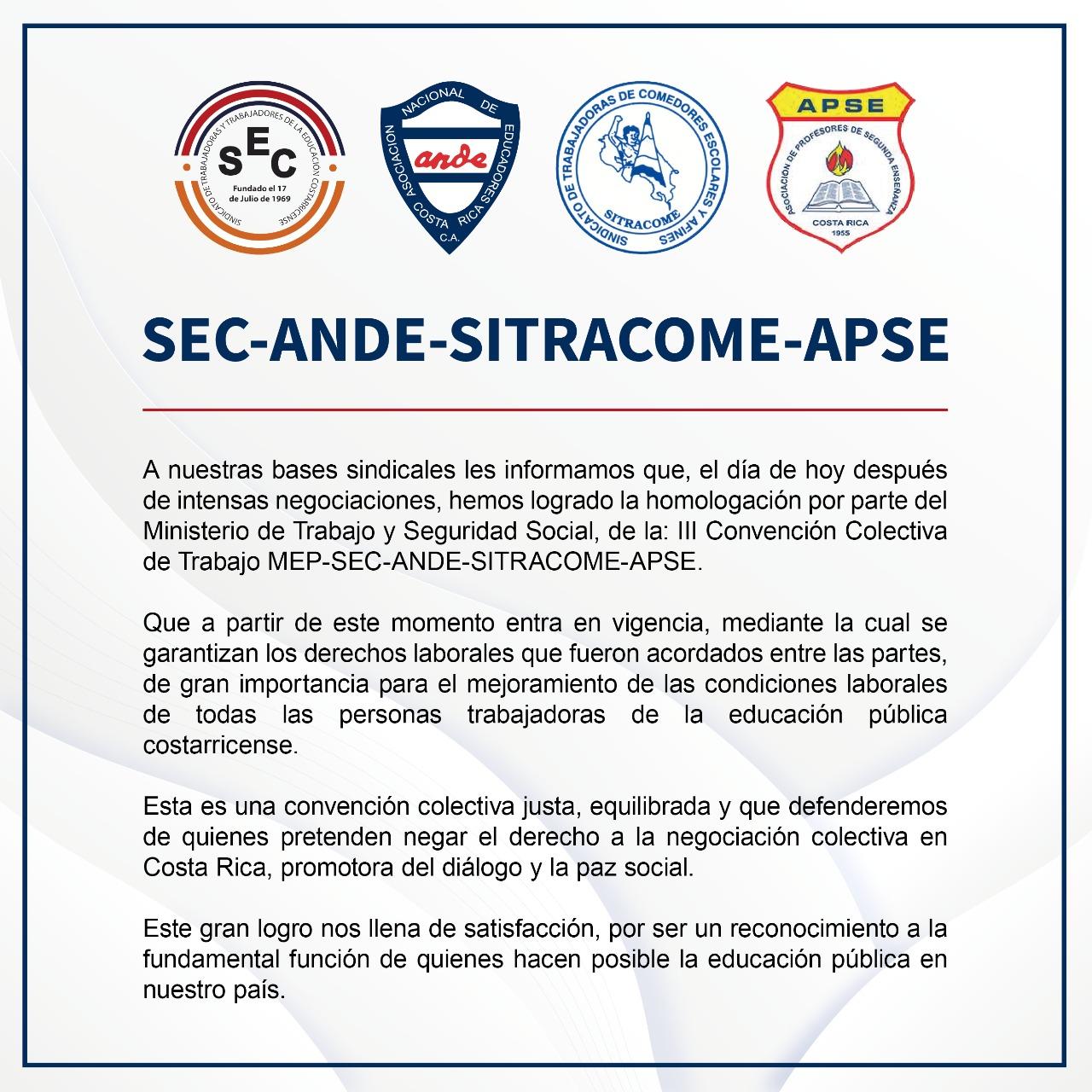 HOMOLOGADA LA III CONVENCIÓN COLECTIVA DEL SECTOR EDUCATIVO