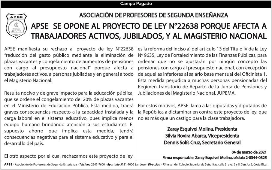 APSE SE OPONE AL PROYECTO DE LEY N°22638 PORQUE AFECTA A TRABAJADORES ACTIVOS, JUBILADOS, Y AL MAGISTERIO NACIONAL