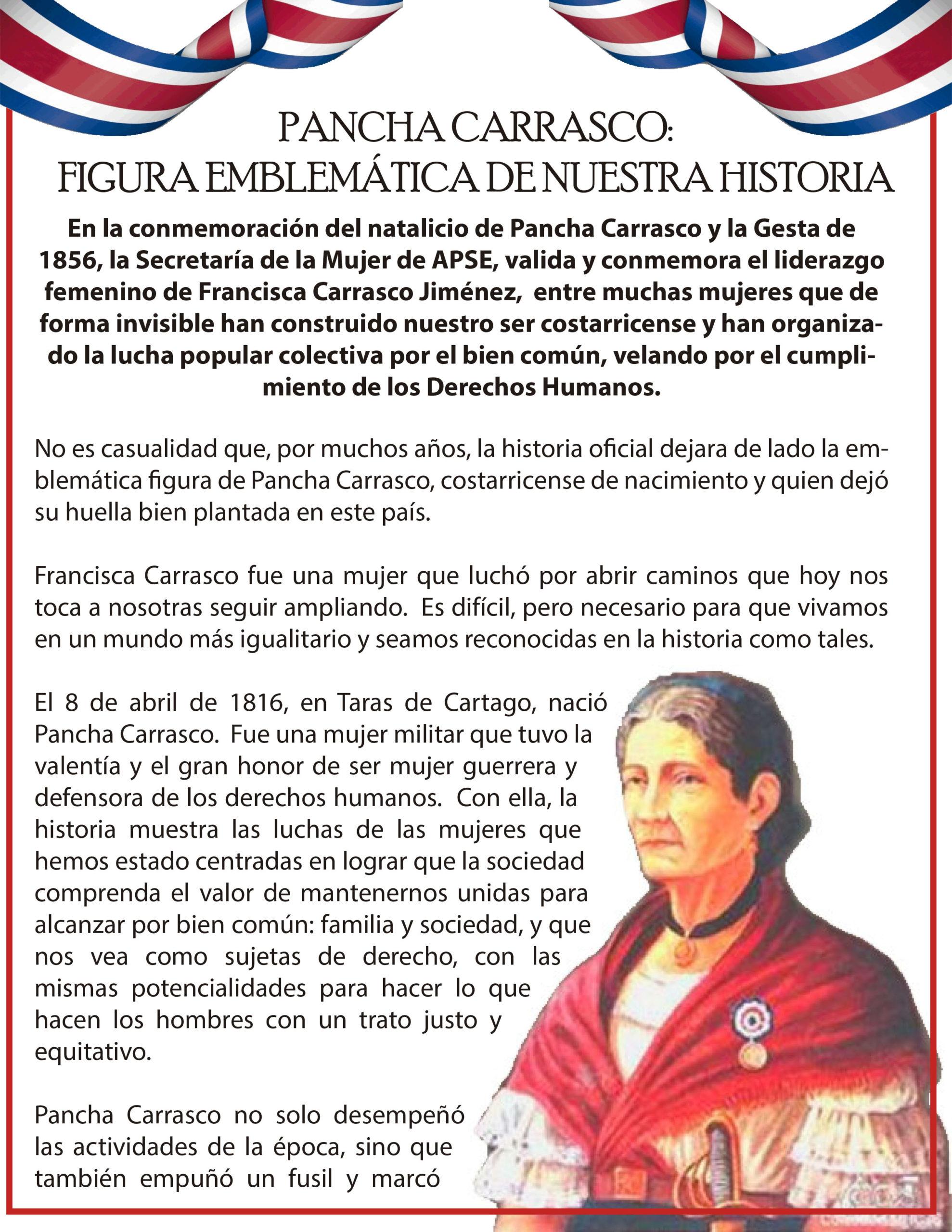 PANCHA CARRASCO: FIGURA EMBLEMÁTICA DE NUESTRA HISTORIA
