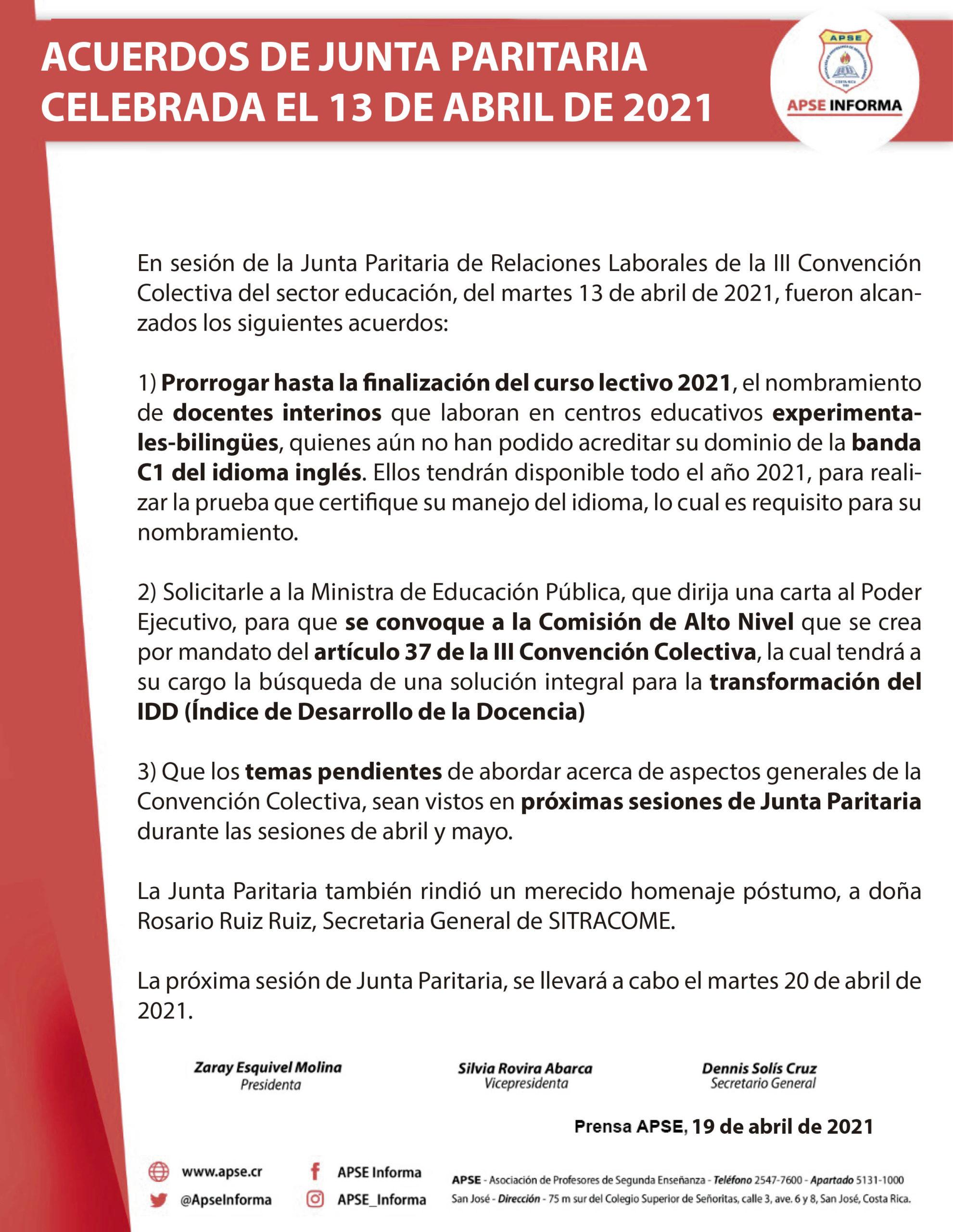 ACUERDOS DE JUNTA PARITARIA CELEBRADA EL 13 DE ABRIL DE 2021