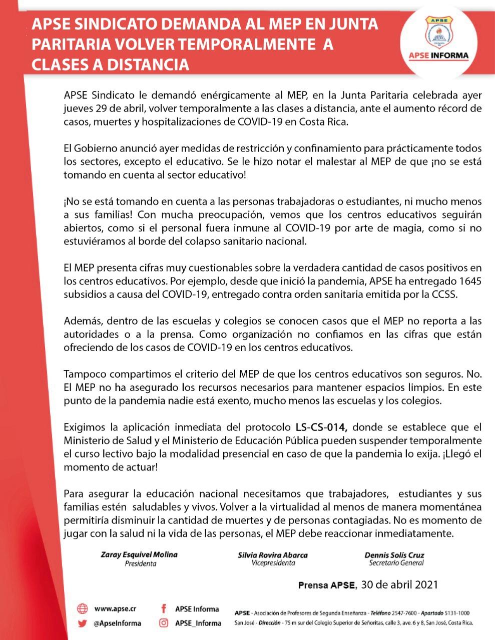 APSE SINDICATO DEMANDA AL MEP EN JUNTA PARITARIA VOLVER TEMPORALMENTE A CLASES A DISTANCIA