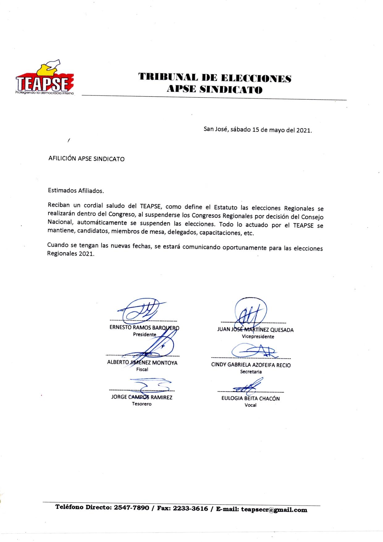 SUSPENDIDAS LAS ELECCIONES REGIONALES 2021
