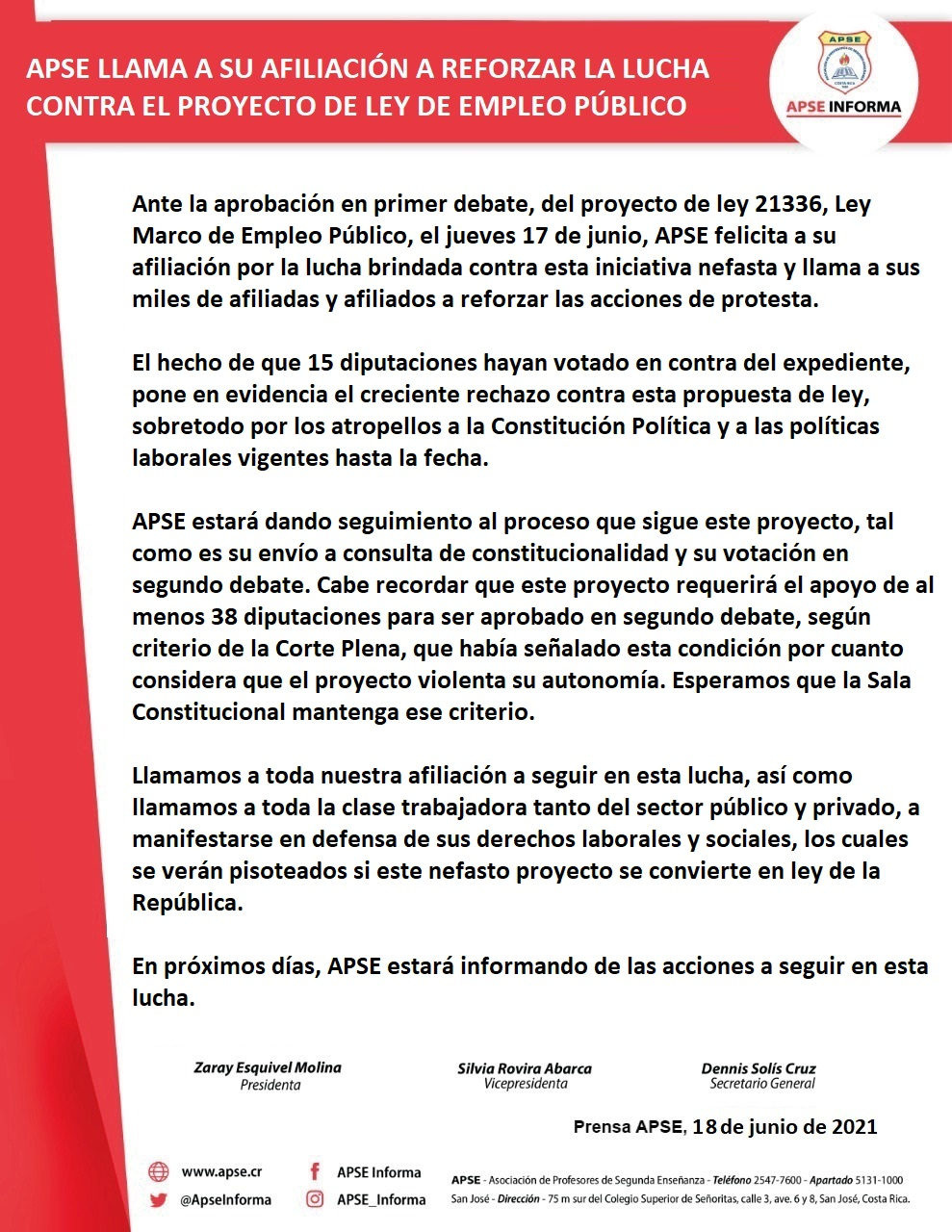 APSE LLAMA A SU AFILIACIÓN A REFORZAR LA LUCHA CONTRA EL PROYECTO DE LEY DE EMPLEO PÚBLICO