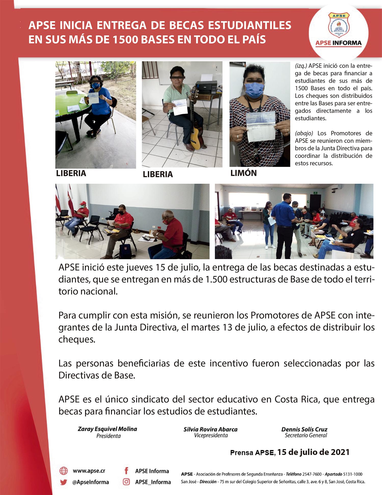 APSE INICIA ENTREGA DE BECAS ESTUDIANTILES EN SUS MÁS DE 1500 BASES EN TODO EL PAÍS