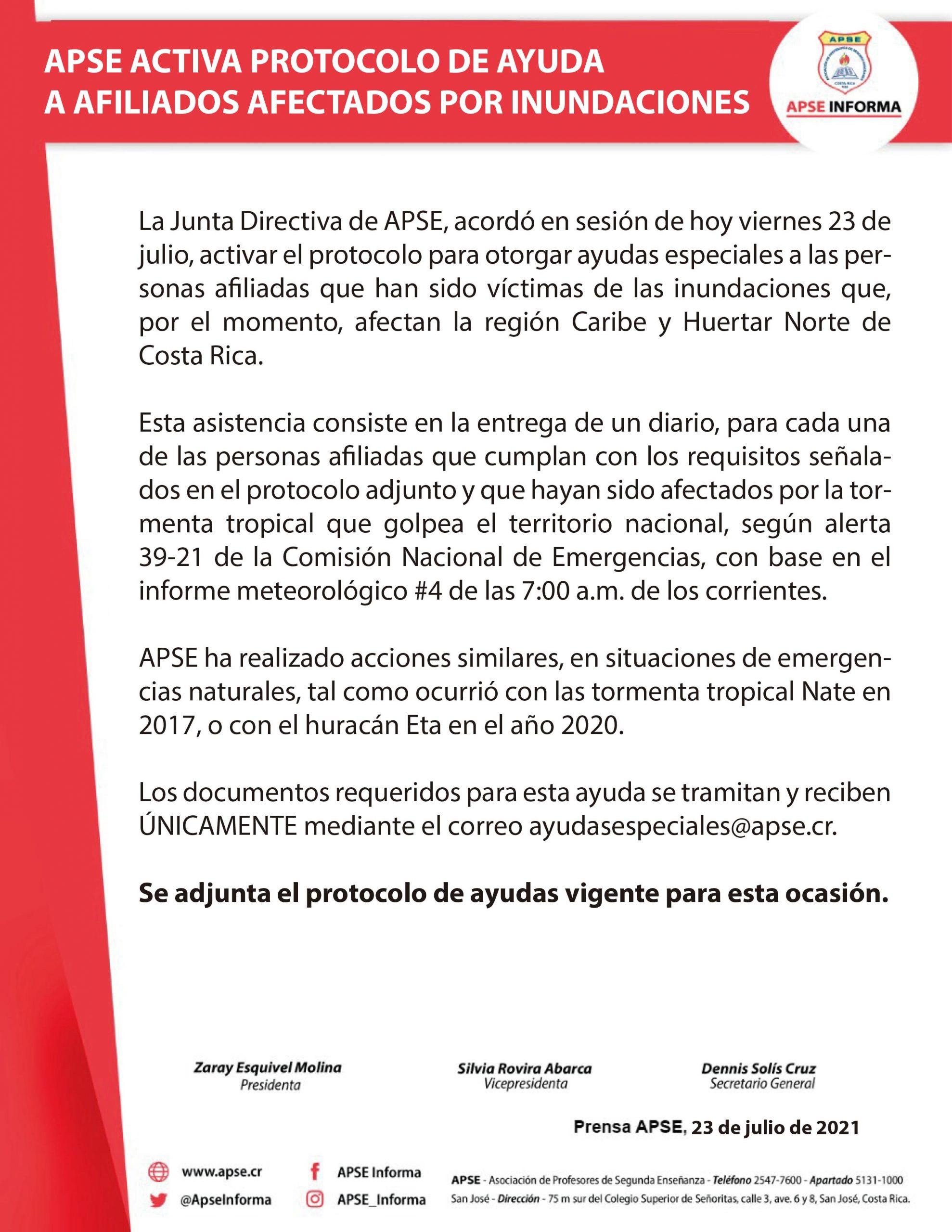APSE ACTIVA PROTOCOLO DE AYUDA A AFILIADOS AFECTADOS POR INUNDACIONES
