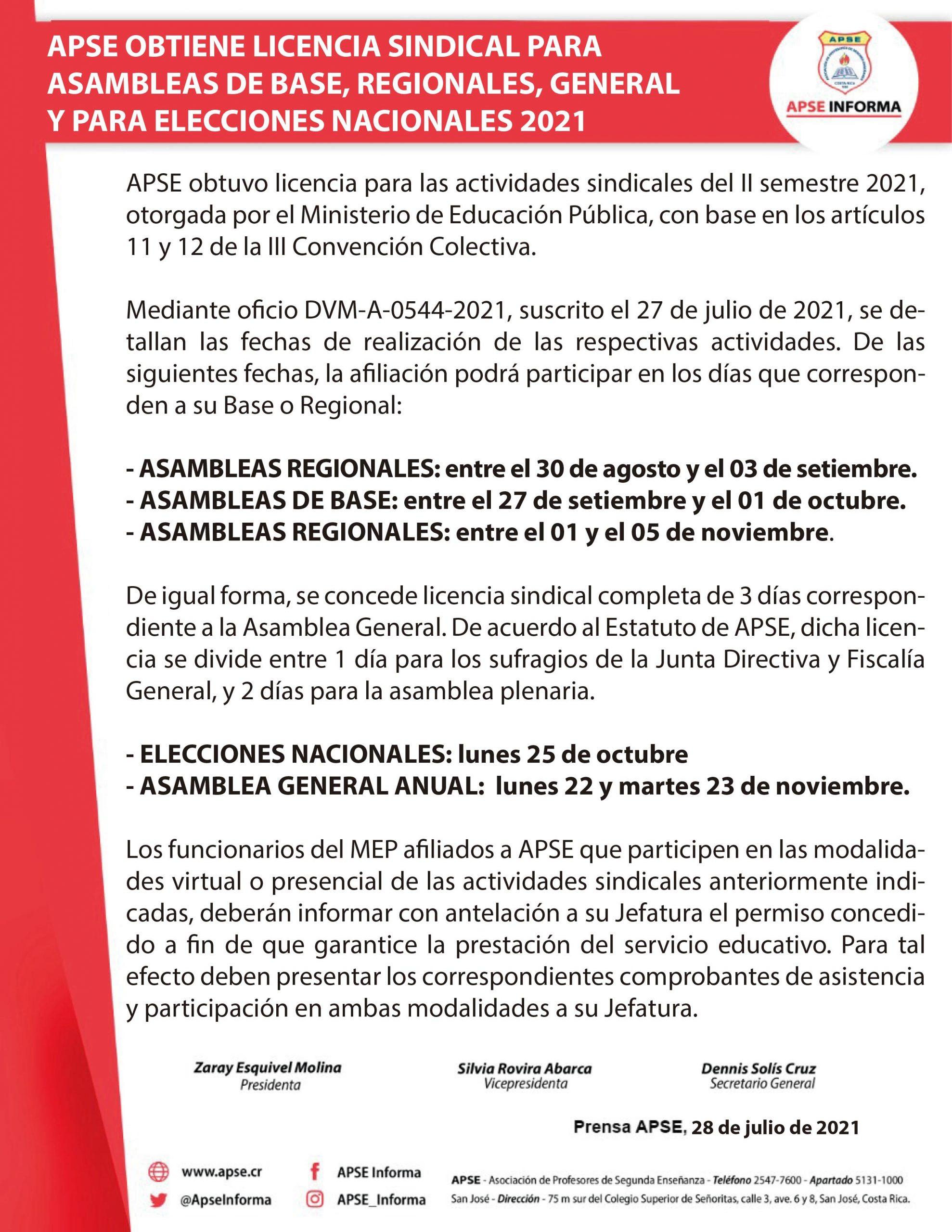 APSE OBTIENE LICENCIA SINDICAL PARA ASAMBLEAS DE BASE, REGIONALES, GENERAL Y PARA ELECCIONES NACIONALES 2021
