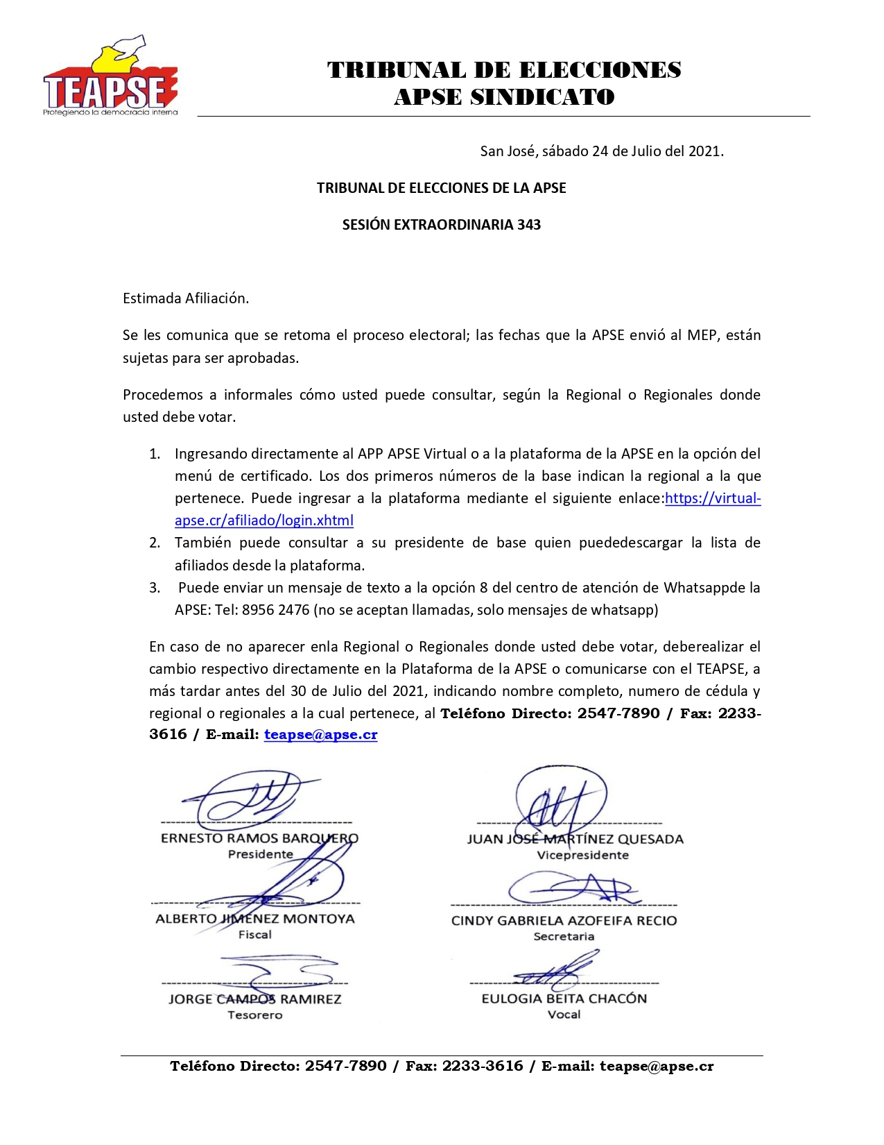 TEAPSE RETOMA PROCESO ELECTORAL 2021