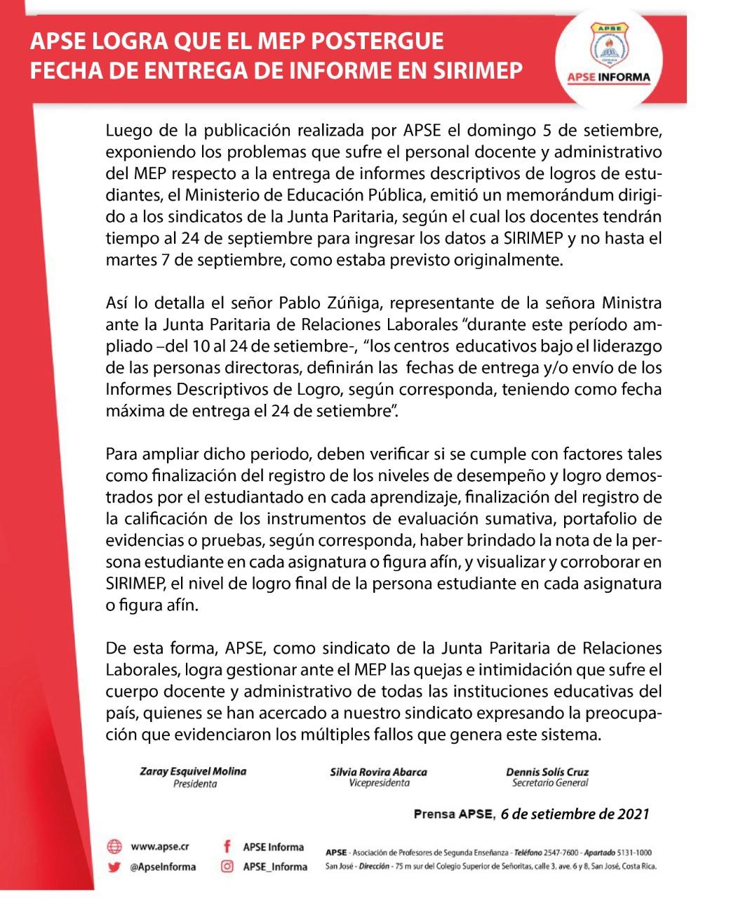 APSE LOGRA QUE EL MEP POSTERGUE FECHA DE ENTREGA DE INFORME EN SIRIMEP