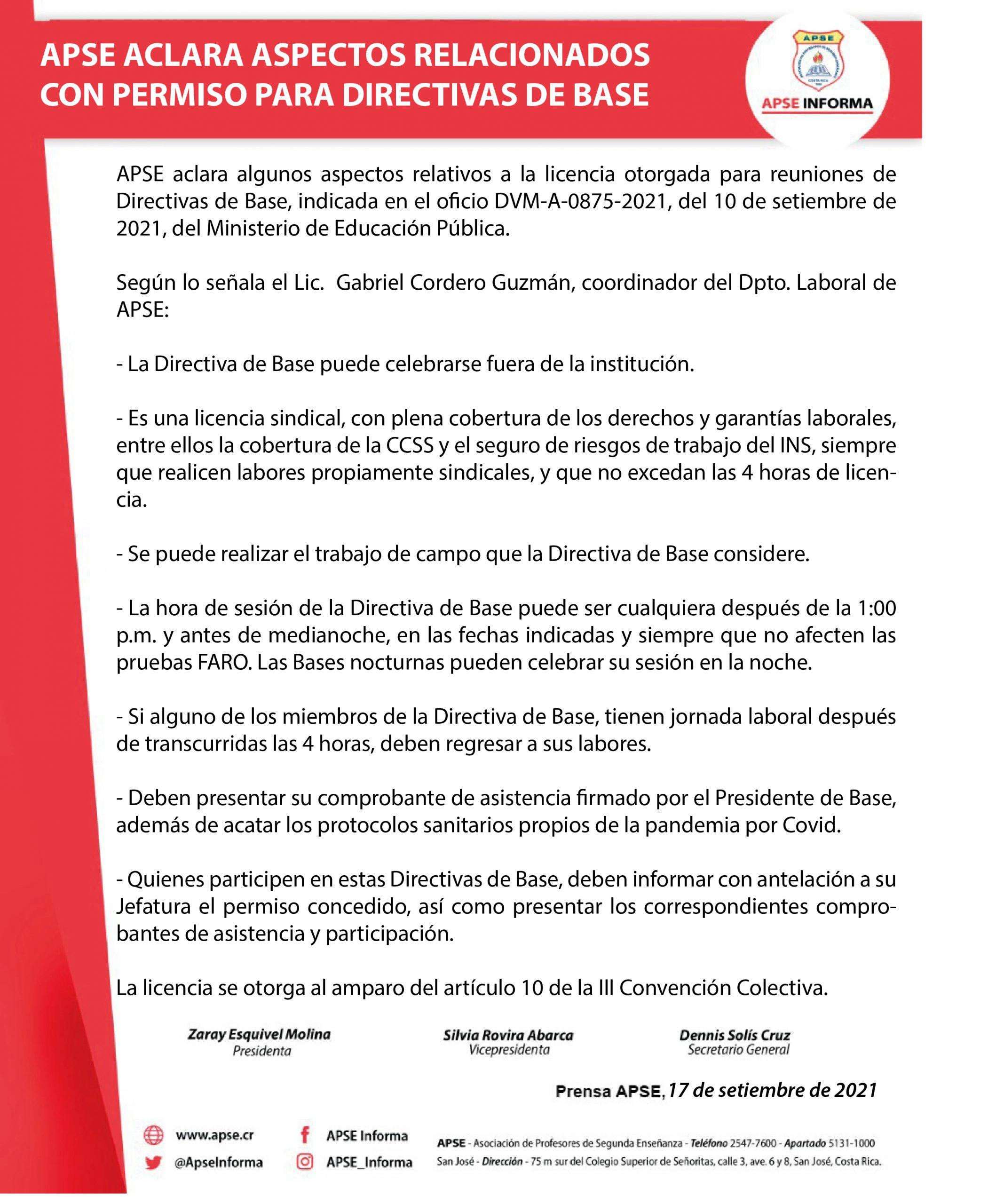APSE ACLARA ASPECTOS RELACIONADOS CON PERMISO PARA DIRECTIVAS DE BASE