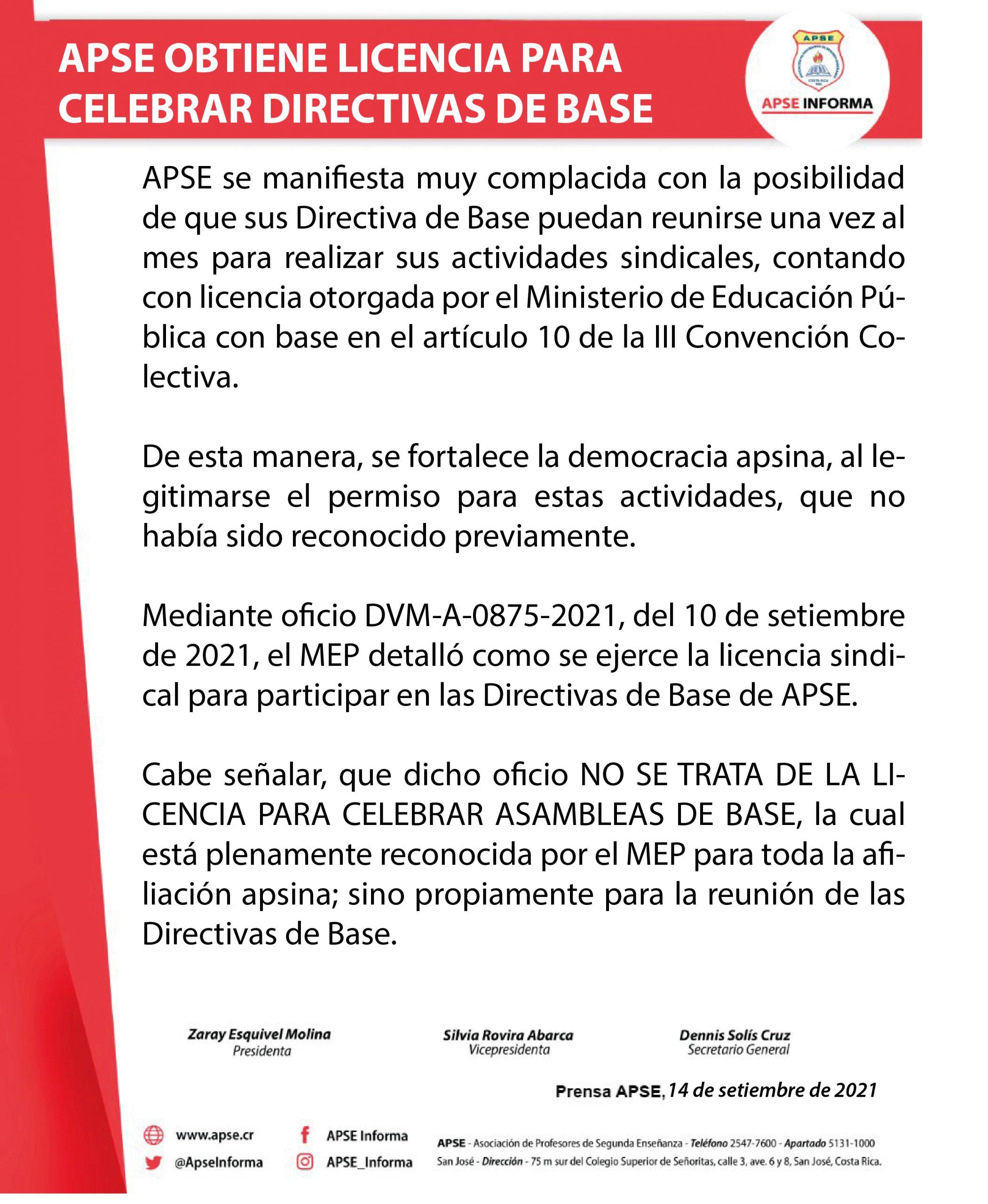 APSE OBTIENE LICENCIA PARA CELEBRAR DIRECTIVAS DE BASE DE APSE