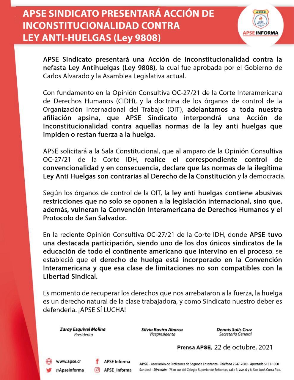 APSE SINDICATO PRESENTARÁ ACCIÓN DE INCONSTITUCIONALIDAD CONTRA LEY ANTI-HUELGAS (Ley 9.808)